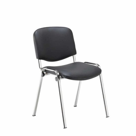 TC Office Club PU Chair with Chrome Frame Black