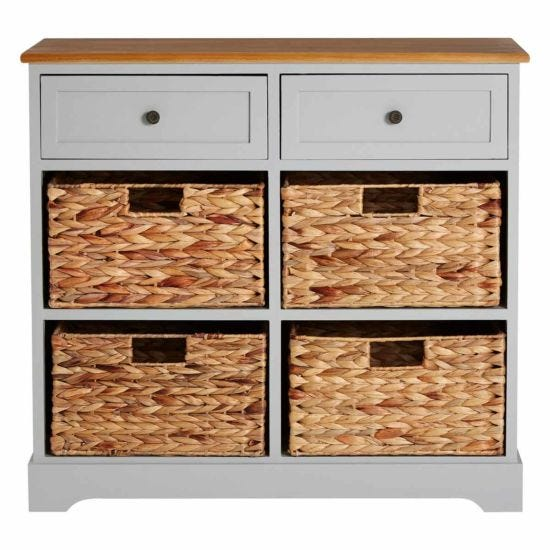 Premier Housewares Vermont 2 Drawer Cabinet with 4 Baskets