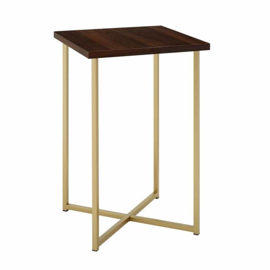 Seattle Modern Square Side Table with Gold Legs Walnut