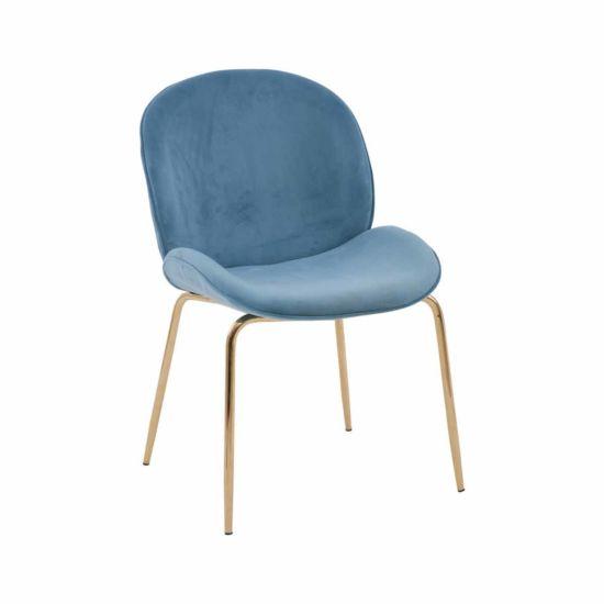 Premier Housewares Rounded Velvet Chair with Gold Legs Blue