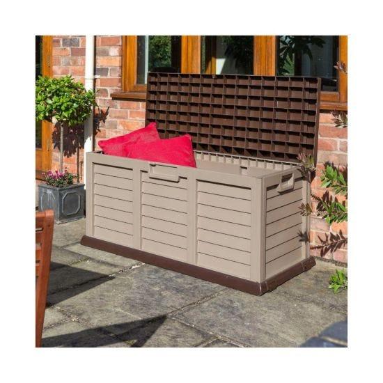 Rowlinson Plastic Garden Storage Box in Mocha