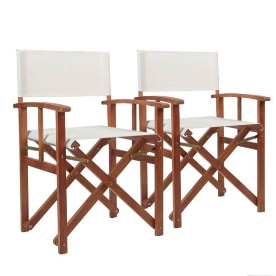Charles Bentley Folding Garden Chair Set of 2 Cream