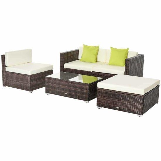 Alfresco Rattan Sectional Garden Sofa Set with Cushions Brown