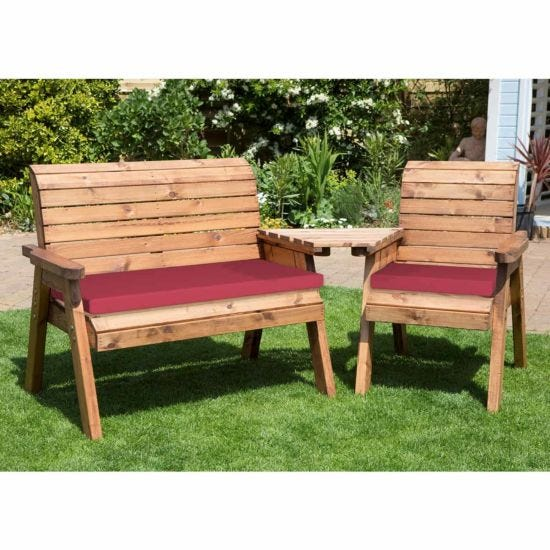 Charles Taylor Three Seat Angled Companion Set with Cushions Burgundy