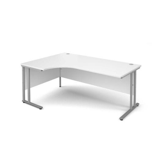 Maestro 25 Left Hand Ergonomic 1800 Desk with Silver Legs White