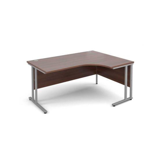 Maestro 25 Right Hand Ergonomic 1600 Desk with Silver Legs Walnut