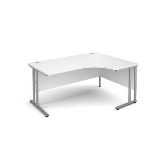 Maestro 25 Right Hand Ergonomic 1600 Desk with Silver Legs White