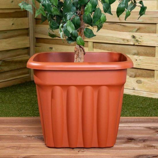 Wham Vista Traditional Square Planter 49cm Set of 3 Terracotta