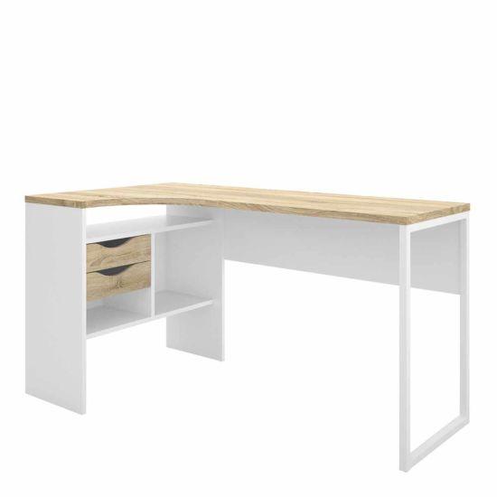 Function Plus Corner Desk with 2 Drawers White Light Oak