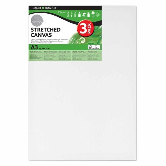 Daler Rowney Stretched Canvas A3 Pack of 3
