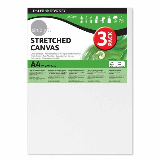 Daler Rowney Stretched Canvas A4 Pack of 3