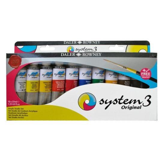 Daler Rowney System 3 Acrylic Studio Set of 10 x 37ml with Brush