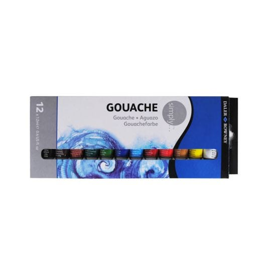 Daler Rowney Simply Gouache Paint Pack of 12