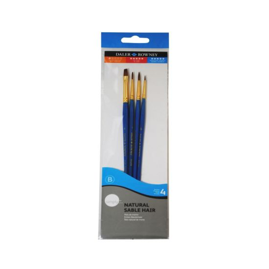 Daler Rowney Simply Natural Sable Hair Synthetic Brushes Pack of 4