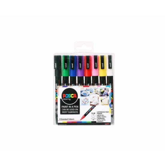 Uni Posca Marker Pen 0.9-1.3mm Bullet Tip PC-3M Pack of 8 Assorted