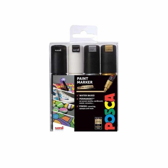 Uni Posca Marker Pen PC-8K 8mm Chisel Tip Monotones Pack of 4