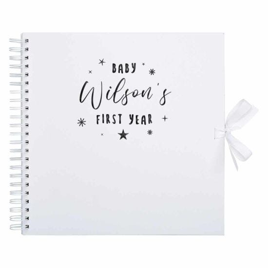 Personalised Scrapbook 12x12 First Year Black Foil White