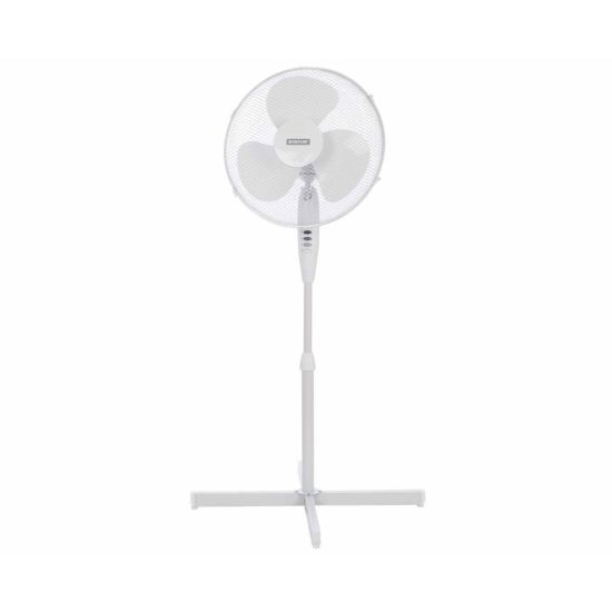 Status 16 Inch White Standing Fan with 3 Speed Settings