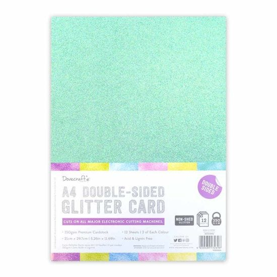 Dovecraft A4 Double Sided Glitter Bumper Pack 12 Sheet Rainbow Pastel