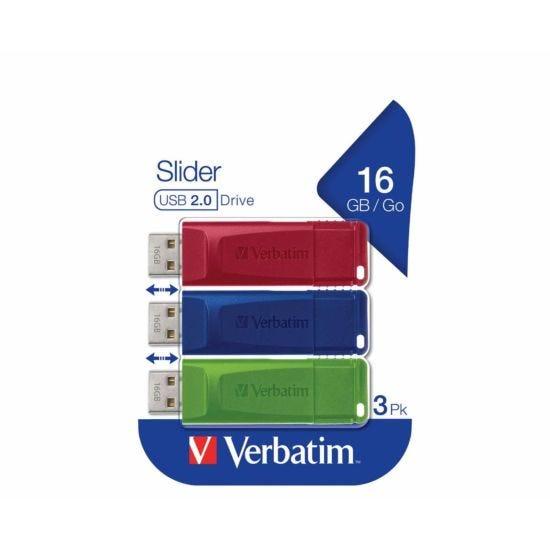 Verbatim Slider USB Drive 16GB Pack of 3