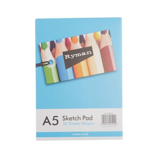 Ryman Sketch Pad A5 100gsm 60 Pages 30 Sheets