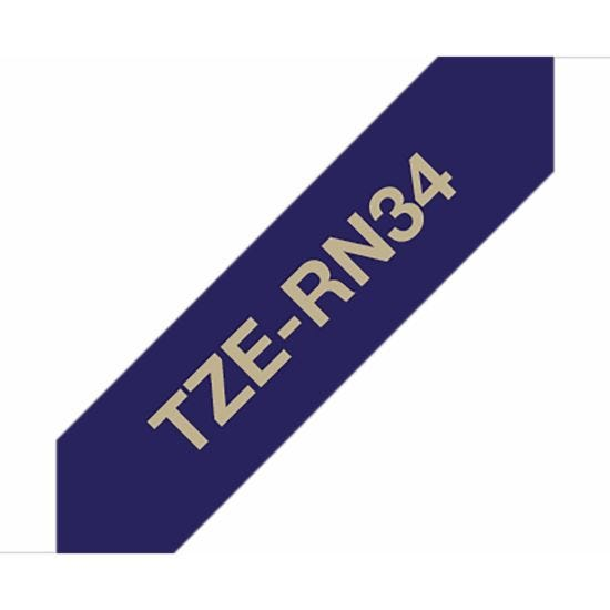 Brother TZERN34 P-Touch Ribbon Label Tape Gold on Navy Blue Fabric