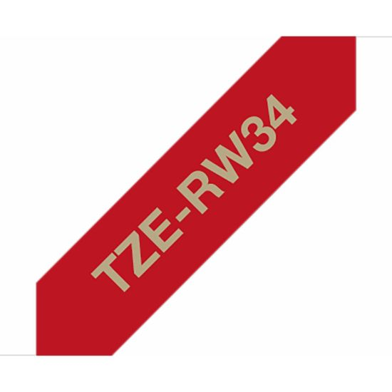 Brother TZERW34 P-Touch Ribbon Label Tape Gold on Red Fabric