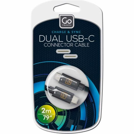 Go Travel Charge and Sync Dual USB-C Cable 2m