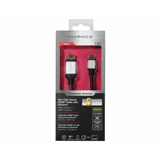 Vivanco Premium Mini High Speed HDMI Cable with Ethernet 1.2M