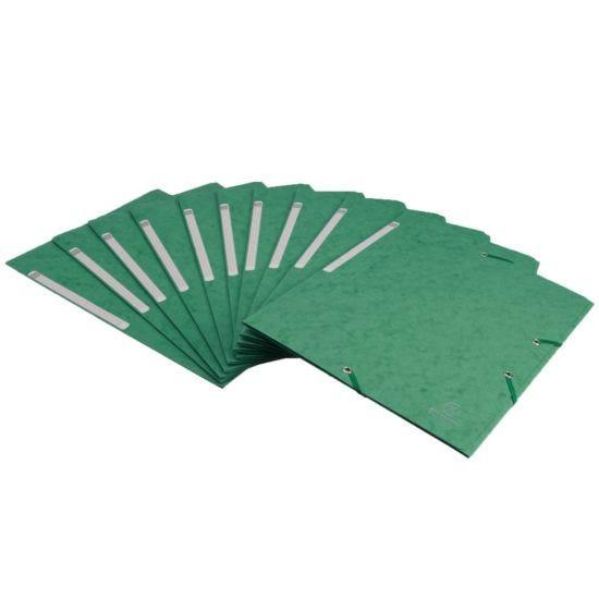 Exacompta Portfolio Folder A4 Elasticated Pack of 10 Green