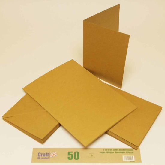 Craft UK 2048 5 x 7 inch Kraft Card and Envelope Pack of 50