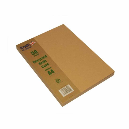 Craft UK 2042 Recycled Kraft Card A4 Pack of 50