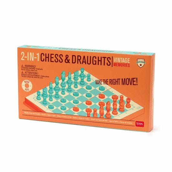 Legami Vintage Memories 2-in-1 Chess and Draughts