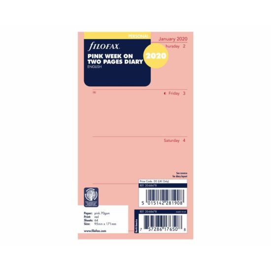 Filofax Diary Insert Week to View Personal 2020 Pink