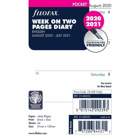 Filofax Diary Insert Mid-Year Week to View Pocket 20-21