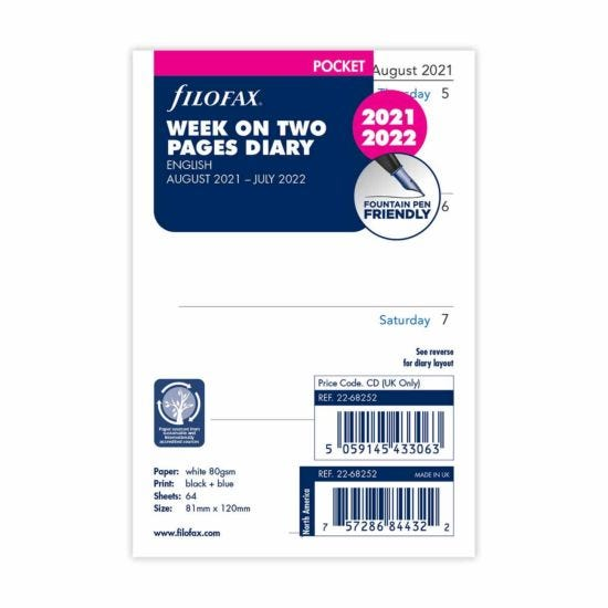 Filofax Diary Insert Mid-Year Week to View Pocket 2021-2022