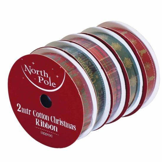 Christmas Cotton Ribbon 2 Metres