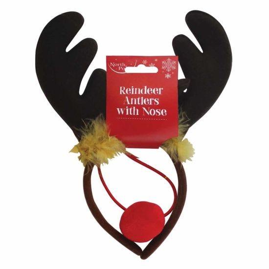Reindeer Antlers Christmas Headband with Nose