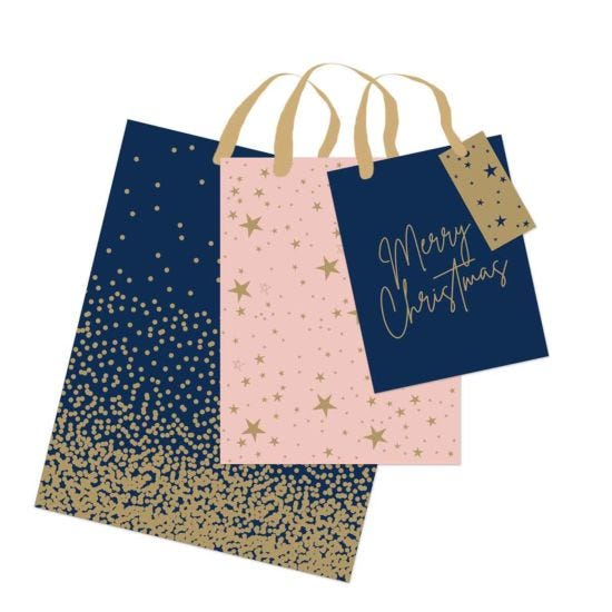 Navy Blush Christmas Gift Bags Pack of 3
