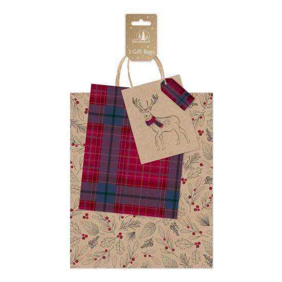 Tartan Kraft Christmas Gift Bags Pack of 3