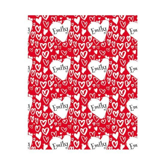 Ryman Personalised Painted Hearts Wrapping Paper 1 Metre x 2 Metre