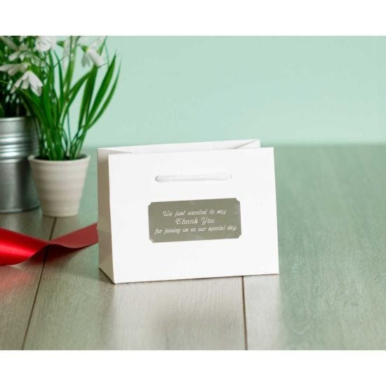 Personalised Luxury Small White Gift Bag with Engraved Silver Plate