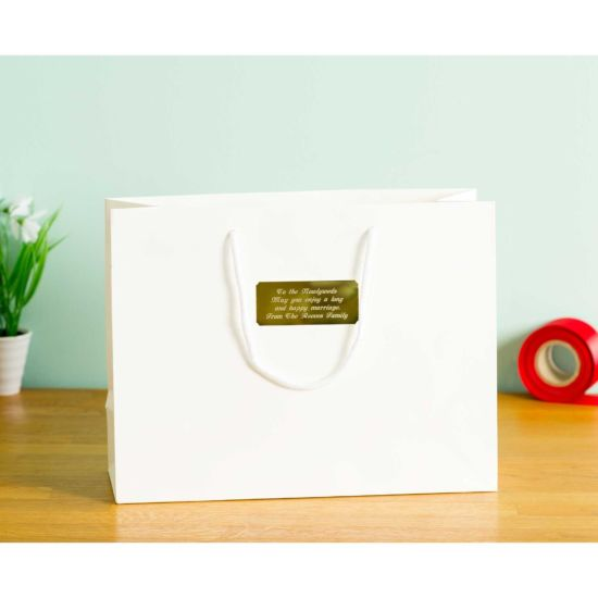 Personalised Luxury Large White Gift Bag with Engraved Gold Plate