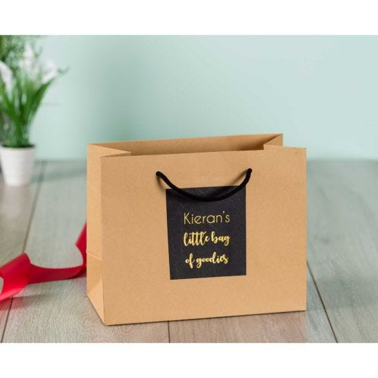 Personalised Luxury Medium Brown Gift Bag with Gold Foil