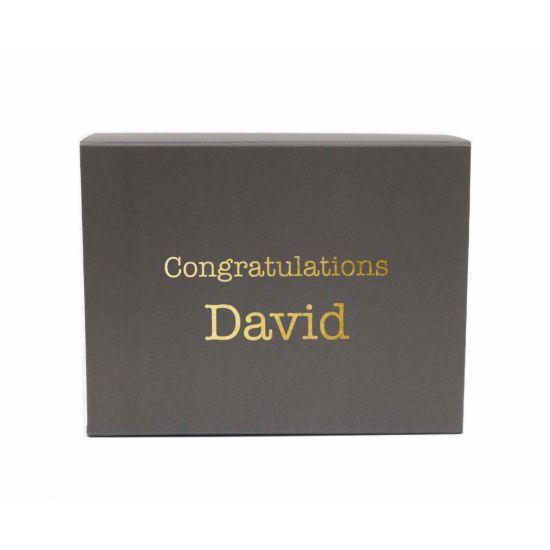 Personalised Gift Box Typewriter Font Grey Gold