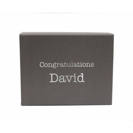 Personalised Gift Box Typewriter Font Grey Silver