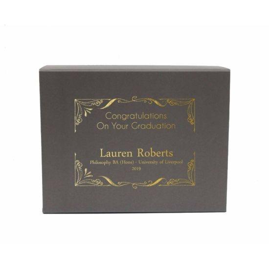 Personalised Graduation Gift Box Elegant Grey Gold