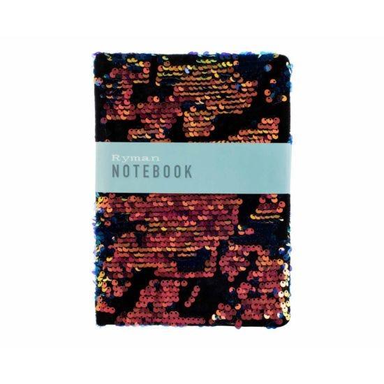 Ryman Black Flippable Sequin and Velvet Notebook A5