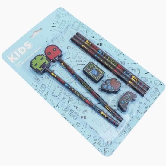 Gamer Pencils with Eraser Toppers Pack of 5