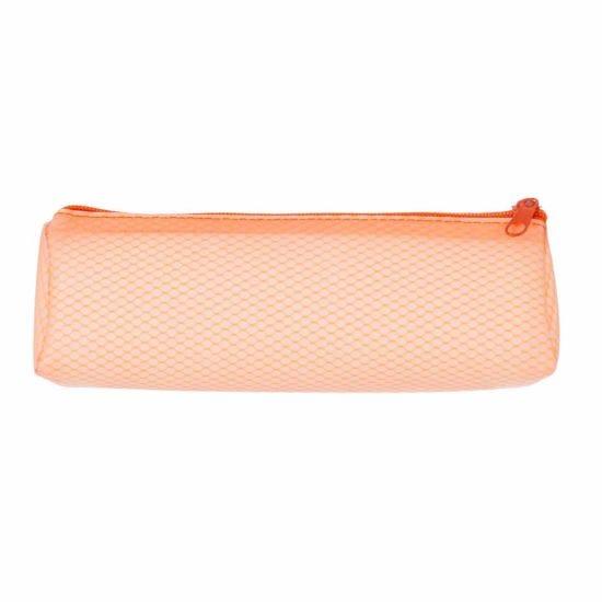 Orange Grid Wedge Pencil Case